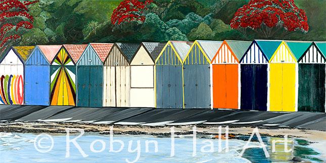 Titahi Bay Boatsheds - Acrylic Painting
