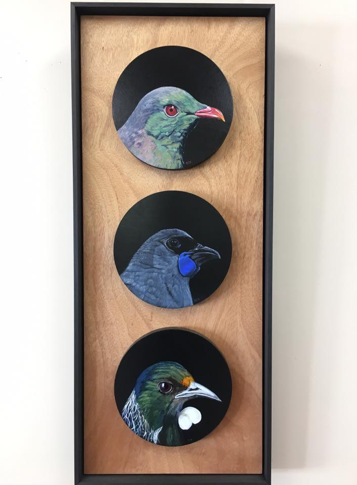 NZ Native Bird Triptych - Acrylic Paintings