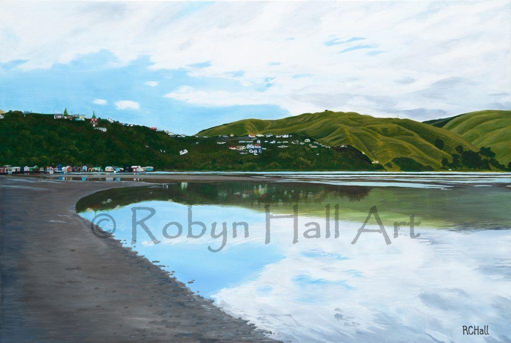 Camborne Walkway Boatsheds - Pauatahanui Inlet - Acrylic Painting