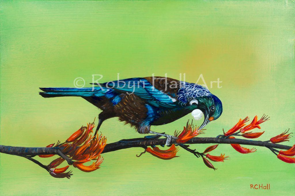 Tui in Flax - Acrylic Painting