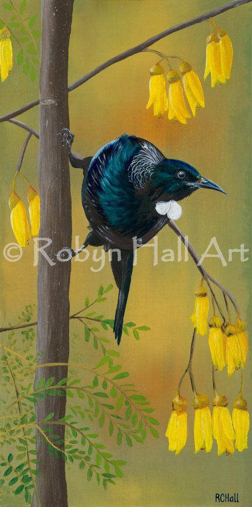 Tui in Kowhai Tree - Acrylic Painting